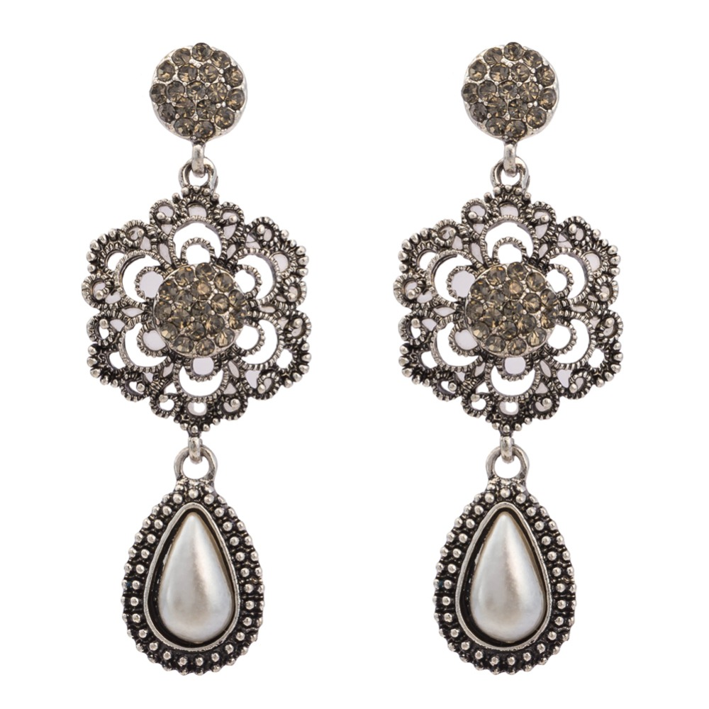 Vintage Gold Color Silver Color Flower Big Dangle Drop Chandelier Cz  Crystal Immitation Pearls Earrings(