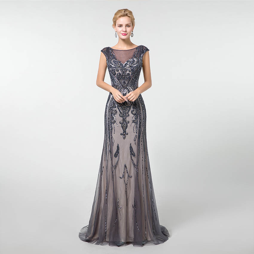 YQLNNE Gold Long   Prom     Dresses   Mermaid 2019 Rhinestones Beadings V-neck Cap Sleeve Formal   Dress