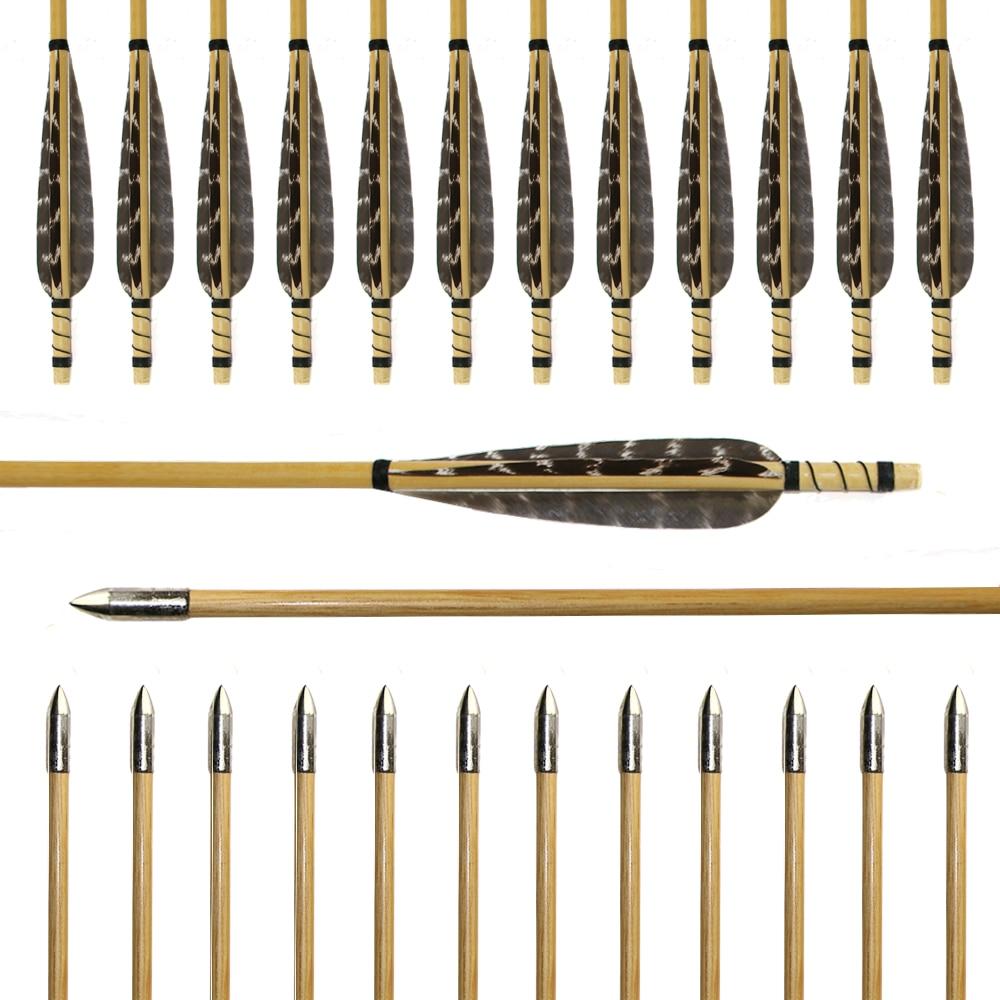 6pcs 31.5inch Diameter 8.5mm Wood Arrow Turkey Feather Wooden Arrows Archery Shooting Practice Silver Steel Arrowhead