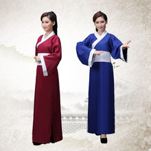 Ancien Costume chinois Tang Costume Hanfu Cosplay danse folklorique femme vêtements Costume vin rouge/bleu Hanfu robe longue(China)