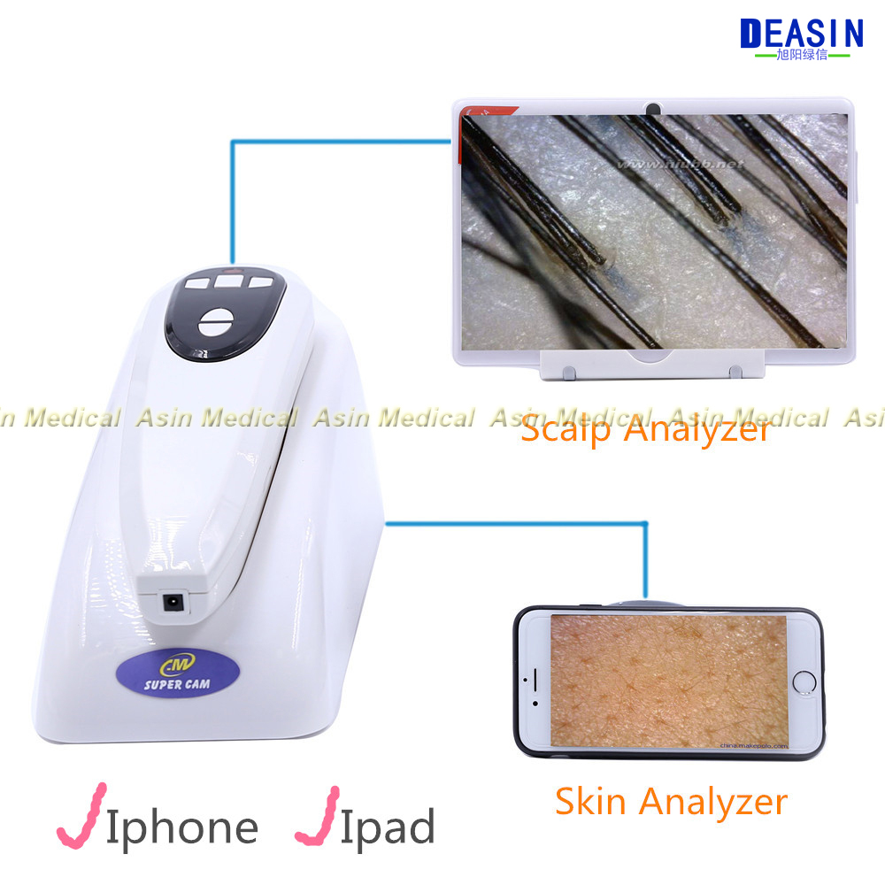 2018 NEW High-tech Wifi wireless Scalp Hair Microscope Analyzer Skin Detector Analyzer camera with base