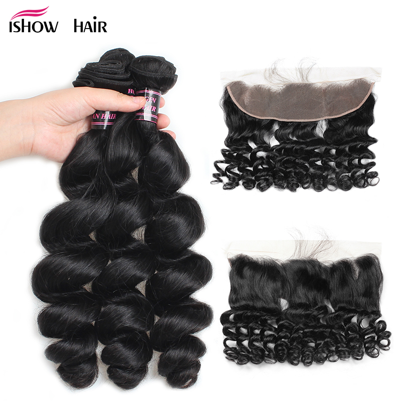 Ishow Malaysian Loose Wave Bundles With Closure Non Remy Human Hair Weave 3 Bundles Ear to