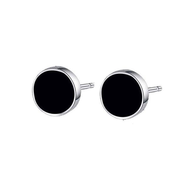 Hot White Gold Color Man Earring Black Resin 925 Sterling Silver Stud Earrings For Men