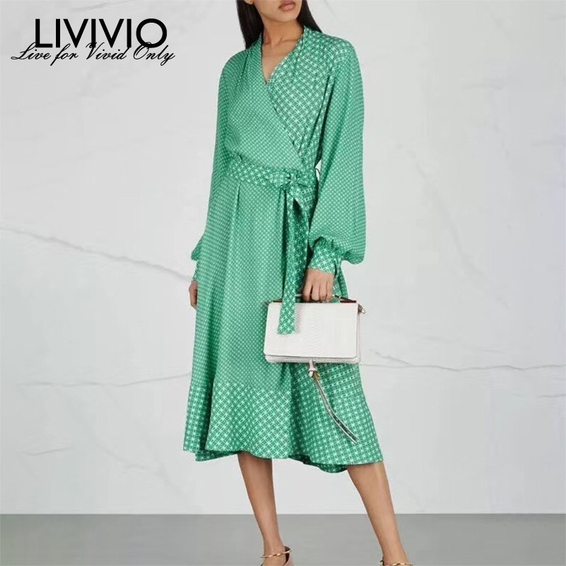 LIVIVIO Vintage Print Dress For Women V Neck Lantern Sleeve High Waist Bandage Midi Dresses