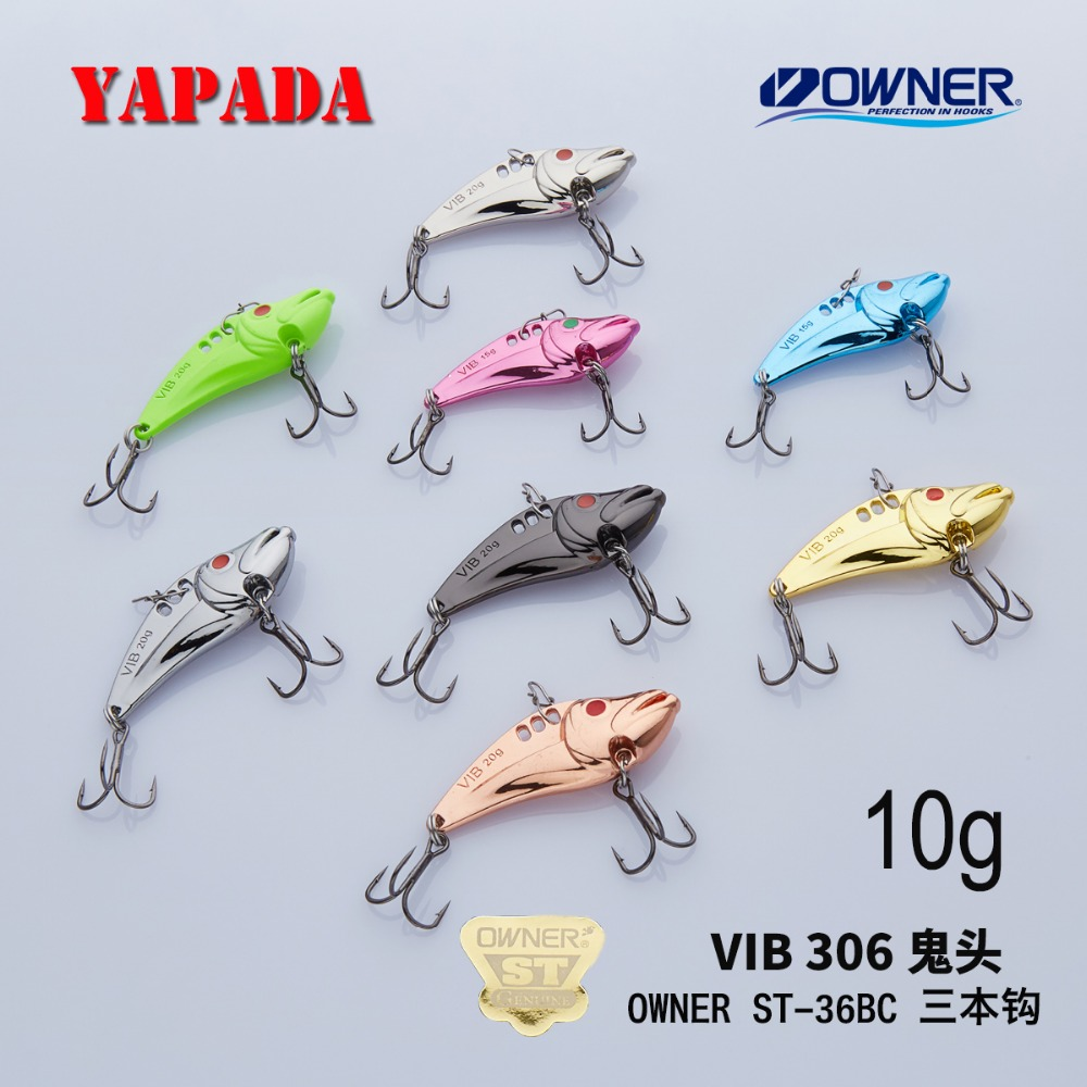 YAPADA VIB 306 Ghost 10g / 15g OWNER Treble Hook 43-49mm Feather Multicolor incինկ խառնուրդ Metal VIB Fishing Lures Bass