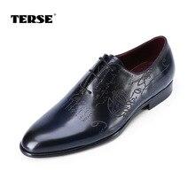 TERSE_Luxury кожаные оксфорды для мужчин ручной работы venezin из воловьей кожи goodyear welted платье обувь бордовый/синий цвета в наличии oem и odm