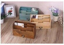 New zakka grocery retro wooden desk drawer storage box office supplies filing storage box 29*17*11cm
