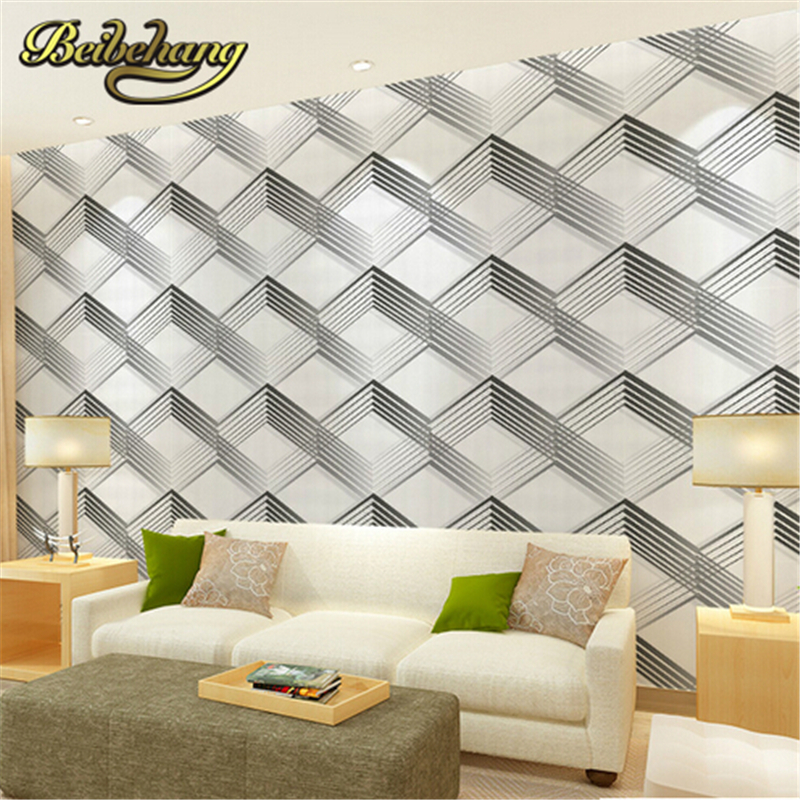 beibehang 3d wallpaper simple modern wall paper roll PVC simple diamond pattern papel de parede black/white wallpaper living roo modern vintage pvc 3d stone brick printing style vinyl waterproof pattern wallpaper wall paper roll papel de parede 10m