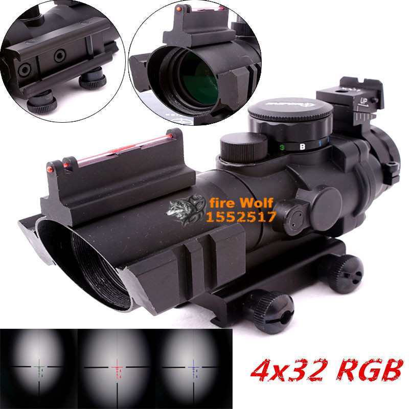 Tactical 4x32 RGB laser sight dot red Tri-Illuminated Combo Compact Scope Fiber Optics Green Sight Free shipping hunting riflescope tactical 3 5x30 rgb laser sight dot red tri illuminated combo compact scope fiber optics green sight