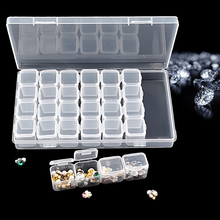 1 Box 28 Grid Nail Art Storage Manicure Tool Jewelry Transparent Color Removable