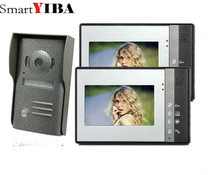 SmartYIBA 7 inch Color Video door phone Intercom Doorbell System Kit IR Camera doorphone ...