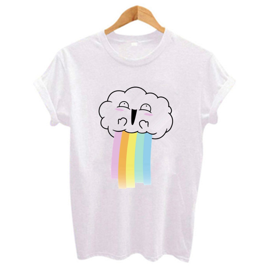 Cartoon image Cute Print Women t shirt Funny Shirt Girl white Top Tee Plus Size Casual Short Sleeve O-Neck Female tshirts