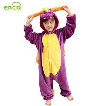 Купить с кэшбэком EOICIOI New Purple Dragon Kids Pajamas For Boys Girls Flannel Animal Cosplay Onesie Winter Children Sleepwear Christmas Pyjamas