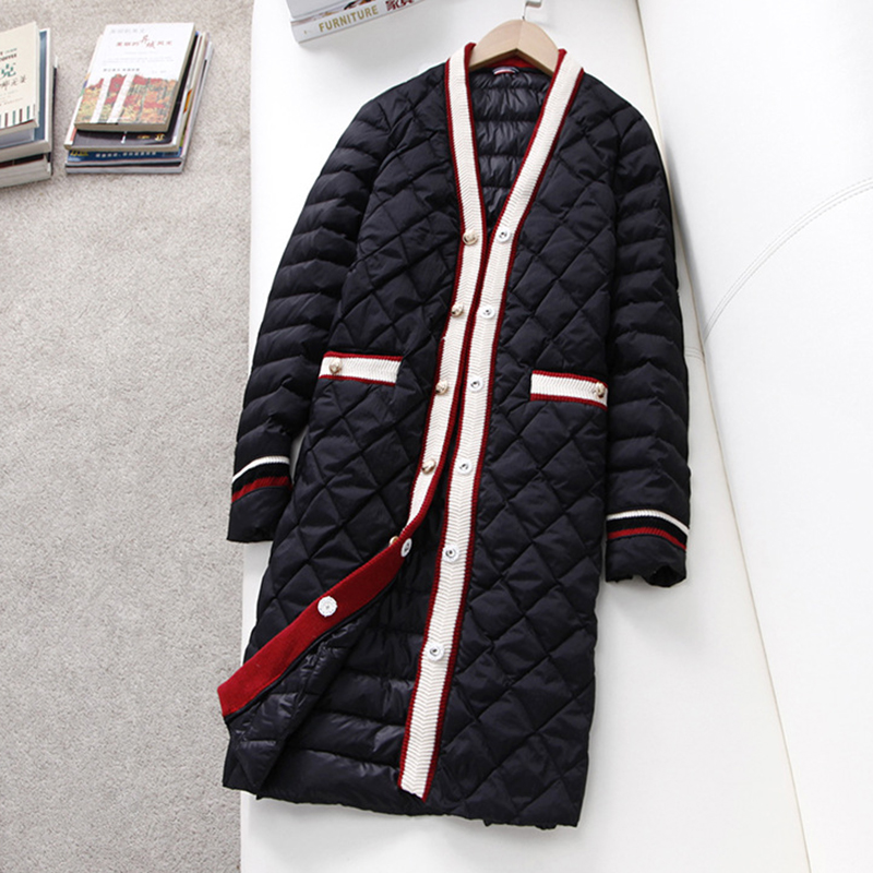 90% White Duck Down Jackets Women Long V neck Light Thin Slim Down Outwears Spring Autumn Ladies Sweet Down Coats YP2072-in Down Coats from Women's Clothing    3