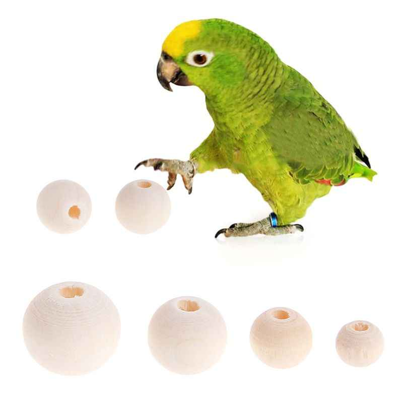 50 Pcs/Set Natural Wooden Beads Parrot Bird Hamster Small Pets Bite Chew Toys DIY Jewelry Making Necklace Dec-6A