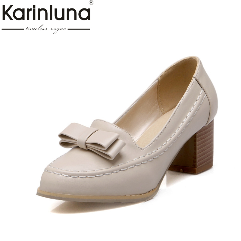 Karinluna On Sale Big Size 32 45 Square Heels Slip On Women Shoes Pumps Retro British Style Sweet Shoes Woman Footwear