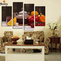4 Panel Canvas Art Fruit Vegetable drinks Picture for Kitchen Living Room Wall Decor Canvas Prints Painting No Frame F18879