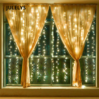 JULELYS 3 x 2.5M 240 Bulbs LED Curtain Lights Christmas Garland Window Outdoor LED Lights Decoration For Wedding Holiday Party
