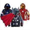 Chicos los vengadores para niños chaquetas y abrigos de los niños prendas de vestir exteriores super hero capitán América Ropa Chaquetas Niños 2 4 6 8 10 año