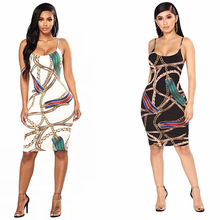 New Summer Print Ladies Dress Sexy Nightclub Spaghetti Strap Short Slim Chain Belt Bodycon backless wrap mini dress