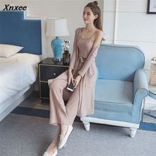 women summer knitting wide-legg pants+Sling+jacket 3 piece set suit three Costumes for spring autumn