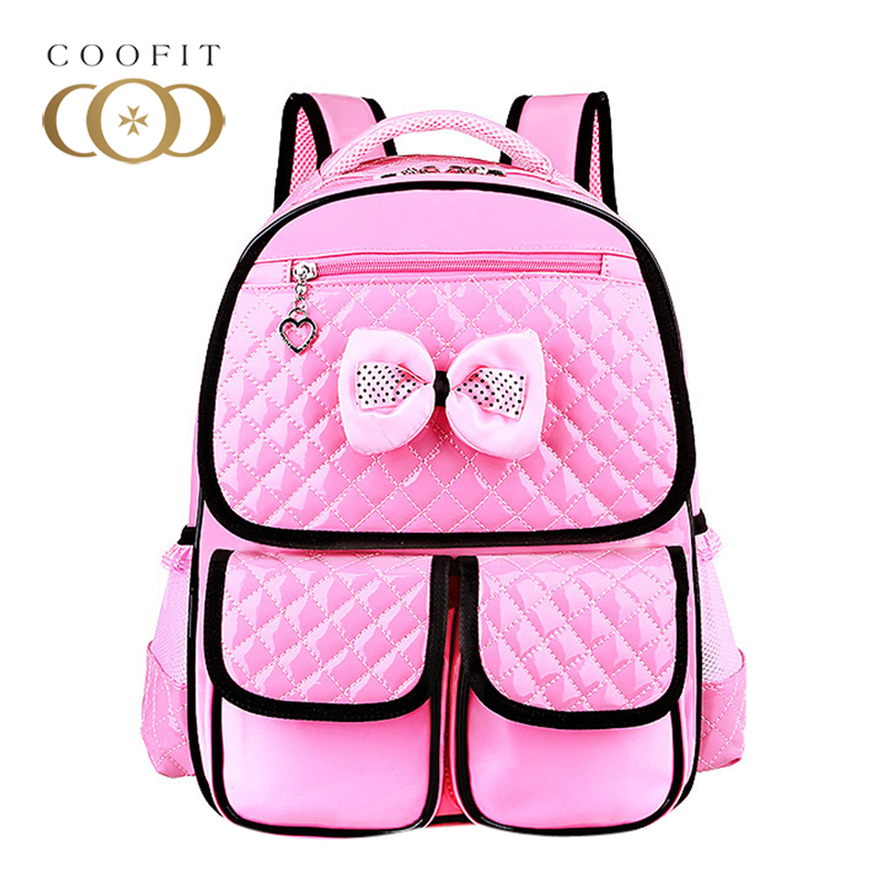 Coofit Cute Children Bow School Backpacks For Girls Jelly Candy Color PU Leather Bagpack Kids Cheap Backpack Pink Rucksacks Bag