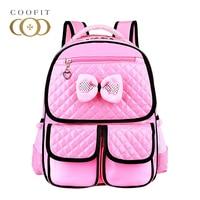 Coofit Sevimli Çocuk Yay Okul Çantaları Kız Jöle Şeker Renk PU Deri Bagpack Çocuklar Ucuz Sırt Çantası Pembe Sırt Çantaları Çanta