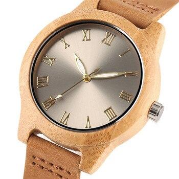 Reloj de madera bambú para mujer combinación metal