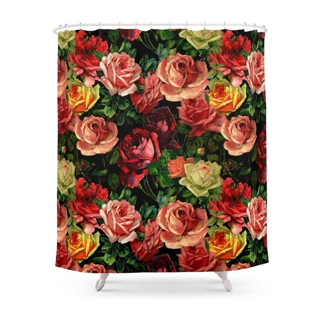 Vintage Floral Roses Flowers Rose Shower Curtain Waterproof Polyester Fabric Bathroom Decor Printed