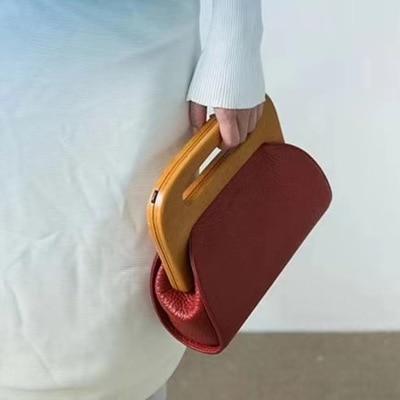 Fashion PU Leather Women Handbag Mini Wood Clip Womens Bag Casual Shoulder Messenger Bag Crossbody Bag for Women Clutch PurseFashion PU Leather Women Handbag Mini Wood Clip Womens Bag Casual Shoulder Messenger Bag Crossbody Bag for Women Clutch Purse