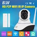 Одной Антенны IP Камеры Безопасности Wi-Fi Wireless HD 720 P H.264 CMOS Ик-cut Видеонаблюдения CCTV Датчик Двери GSM Сигнализация