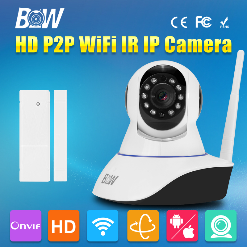 BW Single Antenna Wireless Security IP Camera WiFi HD 720P H.264 CMOS IR-Cut Surveillance IP Camera Wi-Fi + Door Sensor bw wireless wifi door