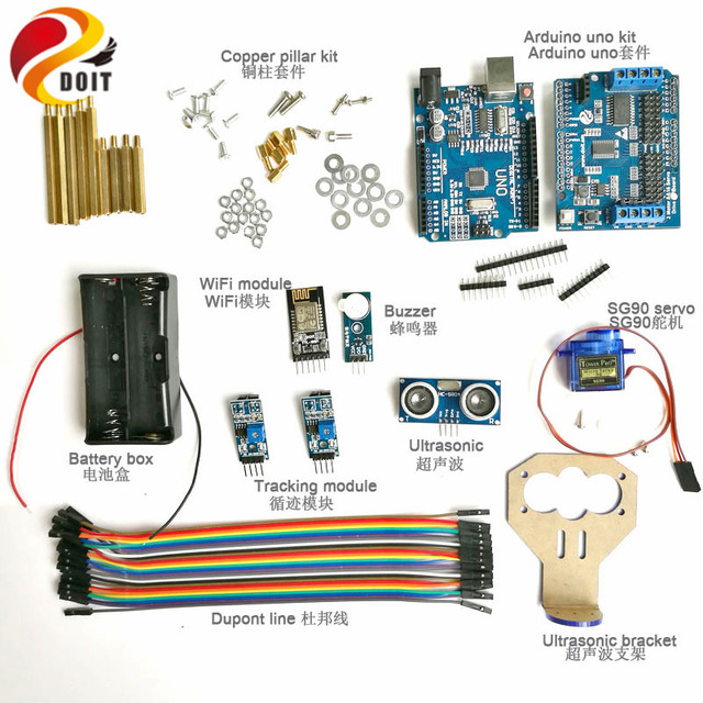 DOIT WiFi Development Kit 2-way Tracking Ultrasonic Obstacle Avoidance Controller kit with SG90 Servo for Arduino DIY Kit