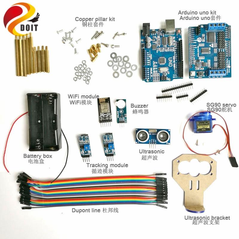 Kit de développement WiFi DOIT kit de contrôleur d'évitement d'obstacles à ultrasons à 2 voies avec Servo SG90 pour Kit de bricolage Arduino