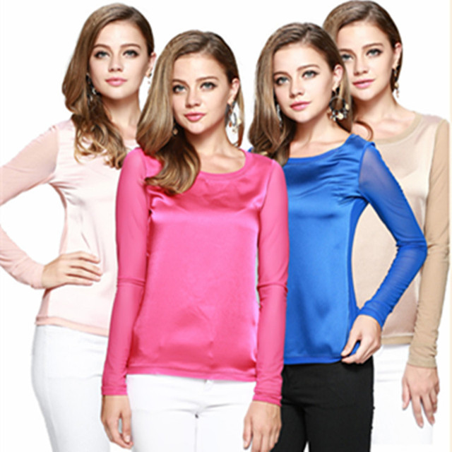Free shipping women faux silk shirt ladies long sleeve autumn plus size t-shirt gauze tops sexy formal clothing wear 1589
