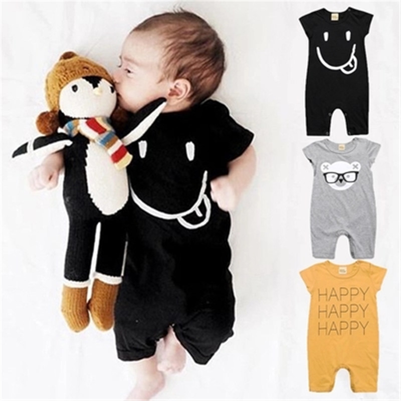 9891044eb Summer Baby Rompers Cotton Baby Girls Clothes Baby Boy Clothes Newborn Baby  Clothes Roupas Bebe Infant Jumpsuits Short Sleeves