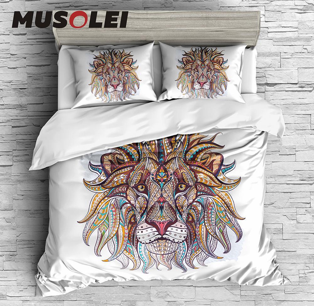 MUSOLEI Unique Bedding Set Bohemian Bedding Bed Cover Duvet cover set, lion,totem,Boho Chic CL King Sizes Home Textiles 3pc