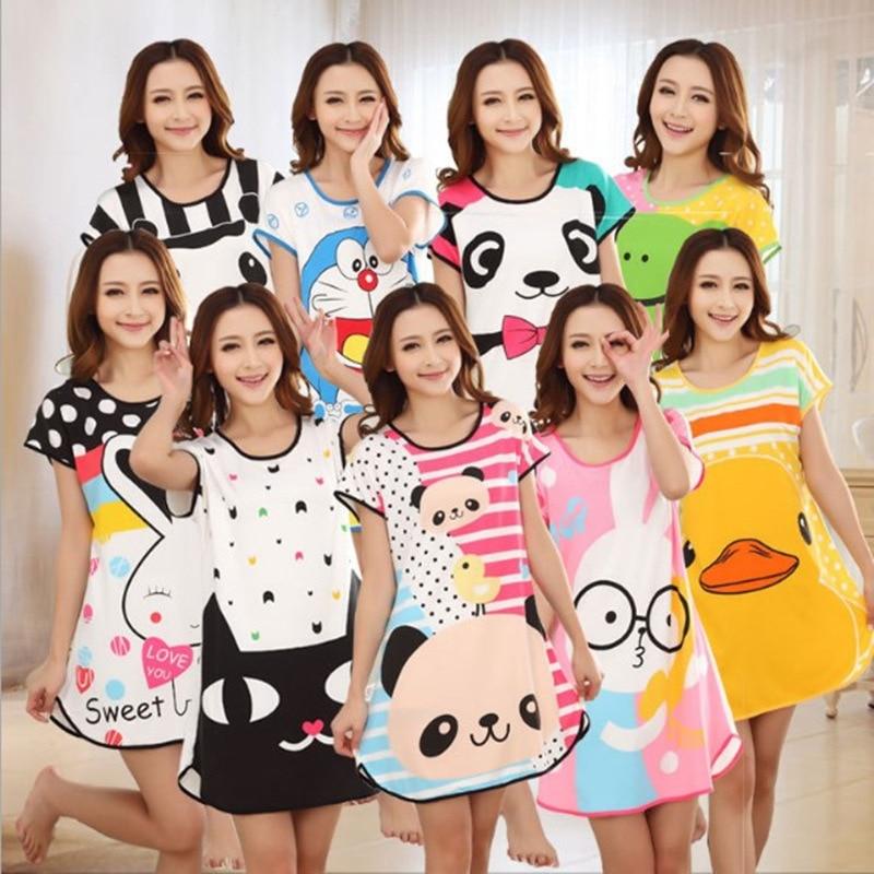 2018 New Style Night Dress Summer Short-sleeved Cartoon Sleepwear Print Lovely Cartoon SleepDress Ladies Home Dress Nightgowns
