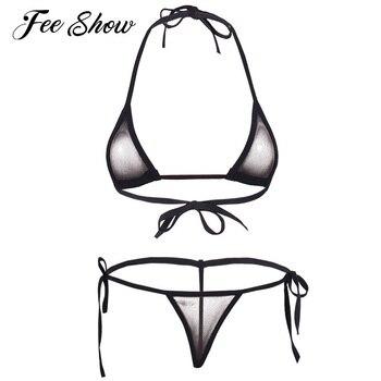 Women Sexy Micro Thong G-string Lingerie Mesh Halter Top Bra with Bottom Erotic Underwear See-through Bikini Beach Swimwear Set line art