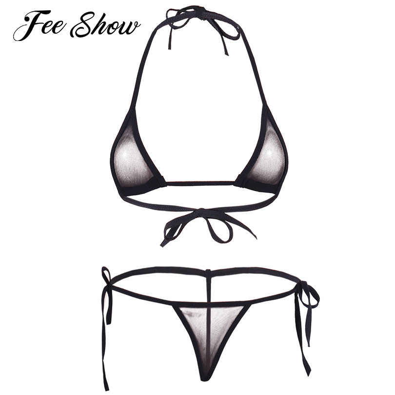 94101065835 Women Sexy Micro Thong G-string Lingerie Mesh Halter Top Bra with Bottom  Erotic Underwear