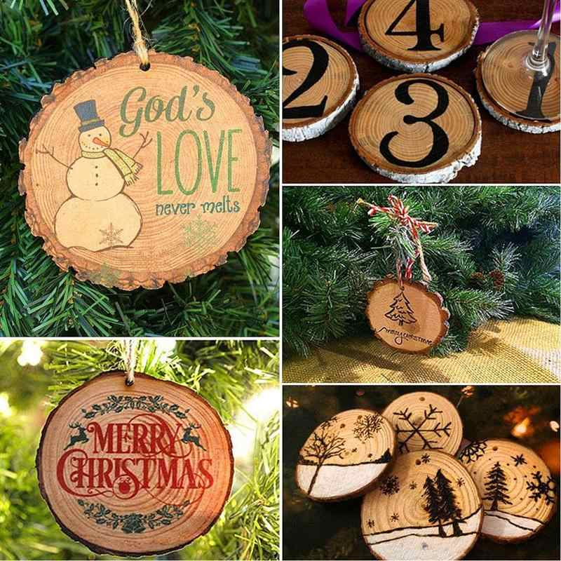 10/12pcs DIY Unfinished Natural Round Wood Slices Circles With Tree Bark Log Discs For Wedding Party Painting Decor 5-6cm Crafts