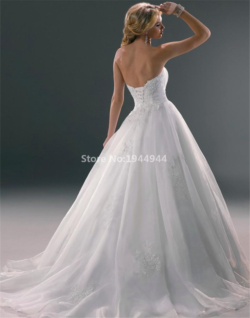 77 2015 New Arrival wedding dress Lace applique wedding dresses strapless vestidos de novia (2)