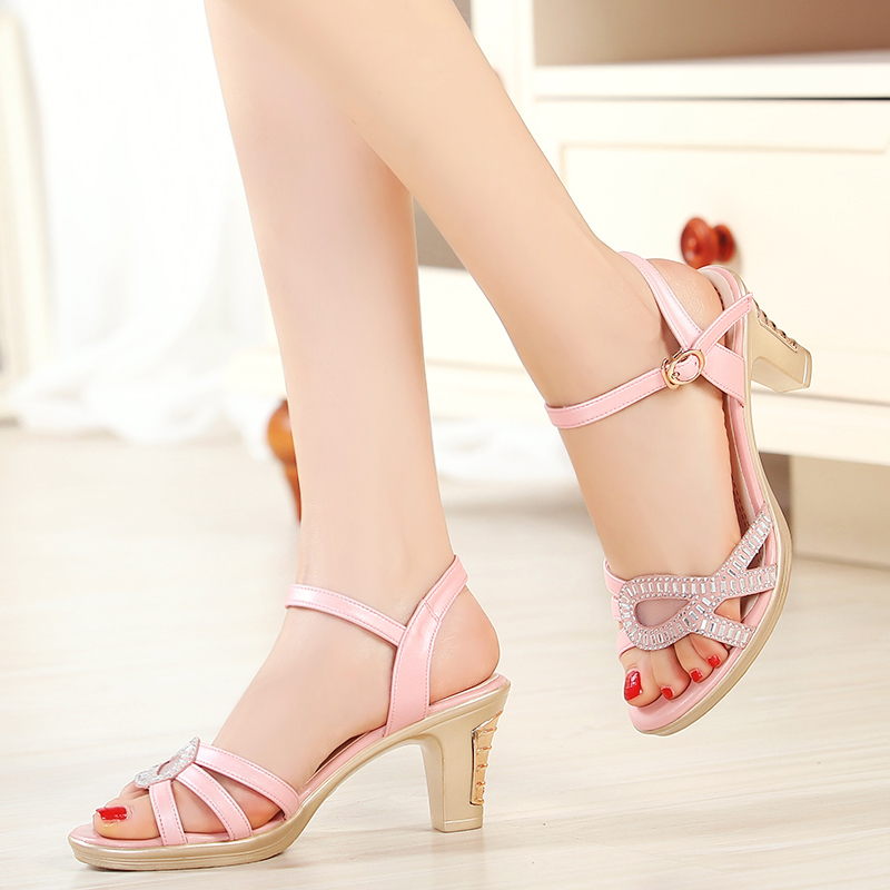 ФОТО 2017 new genuine leather women sandals fashion fish mouth high-heel comfortable  designer  summer shoes women