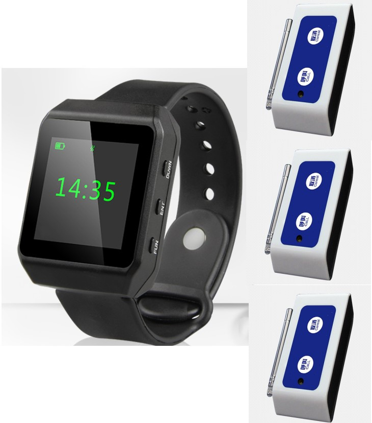 ATM/disability passage wireless calling/paging system, 3pcs color indicator call button+1pc OLED color screem wrist/watch pager