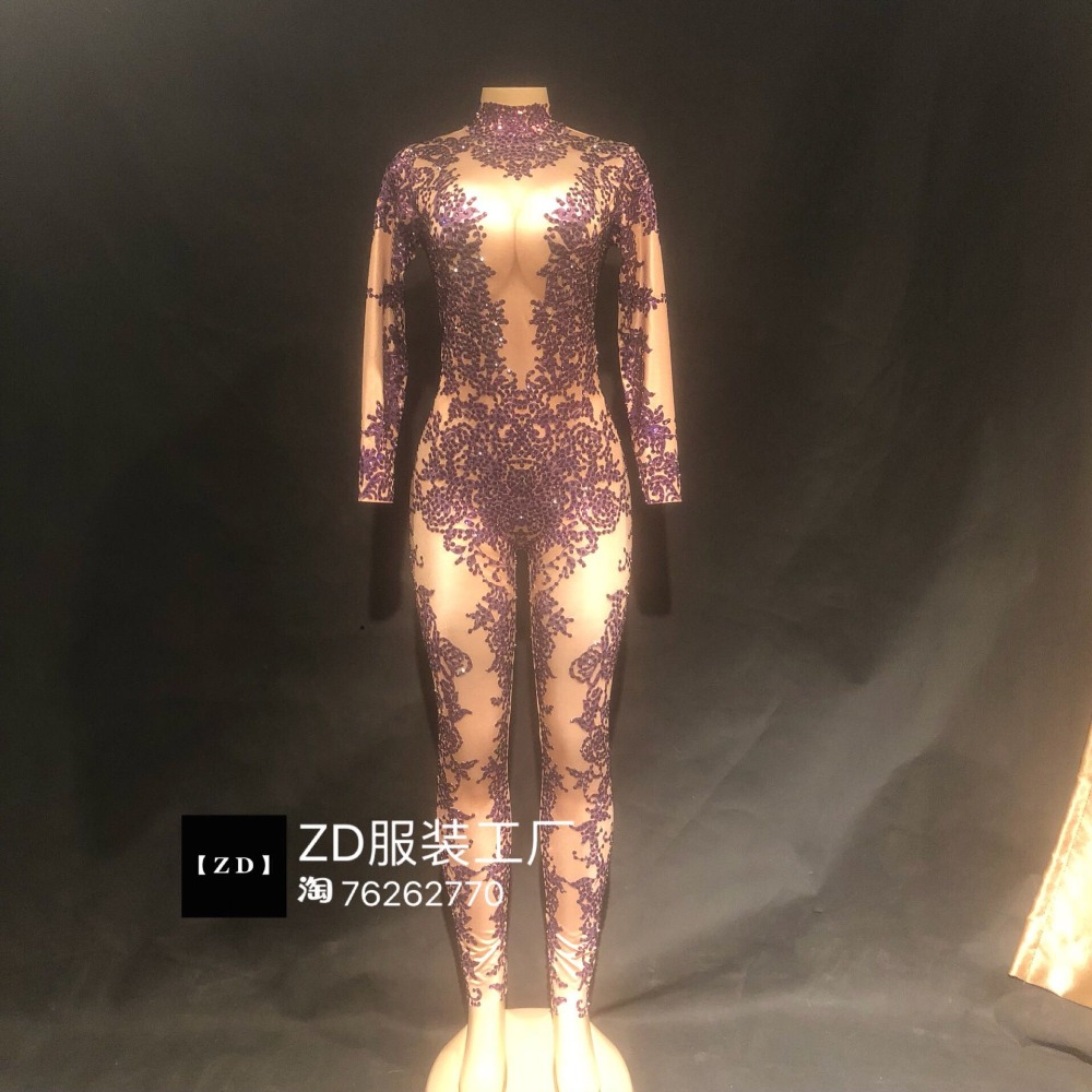 Women New Sexy Shining Rhinestones Printed Jumpsuit Singer Dancer DJ Costume Nightclub Outfit Party Clothing Stage Wear Bodysuit