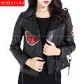 Moda mujeres de alta calidad de piel de Oveja de solapa con cremallera flor del bordado de la mariposa locomotora chaqueta de cuero genuino negro XXXL
