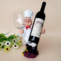 Funny Cute Chef Wine Rack Resin Man Multifunctional Wine Glass Rack Western Carving Household Wine Shelf