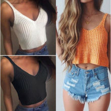 Women V Neck Knit Tank Tops Boho Off Shoulder Sleeveless Slim Top Casual Solid Color Short Tank Top