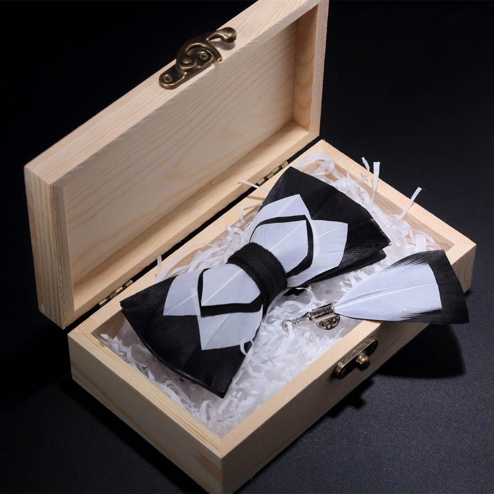 JEMYGINS Original Design Bow Tie Natural Feather Hand Made Bowtie Brooch Pin Wood Gift Box Set For Men Wedding Party Bowtie