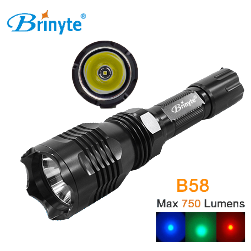 где купить Brinyte B58 Waterproof Military LED Flashlight CREE XM-L2(U4) Outdoor Hunting Torch White Red Green Light LED Police Flashlight дешево